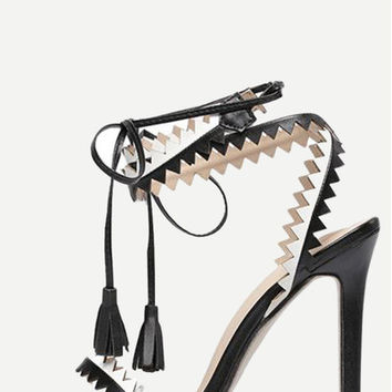 Zig-Zag Cut Lace-Up Tassel Heeled Sandals