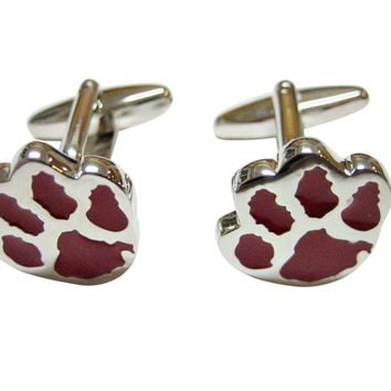 Red Animal Paw Track Cufflinks