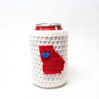Georgia Beer Koozie, State Accessories, Crochet Can Koozie, Atlanta Braves Inspired Bottle Cozy, Coffee Cozy, Travel Drink Holder