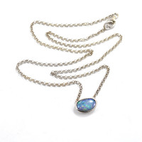 "Opal pendant, opal from Lightning Ridge Australia, doublet sterling silver solid 18"" chain 45cm"
