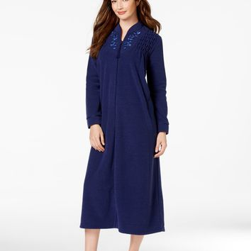 Miss Elaine Brushed Back Terry Zip Front Long Robe 866005 Jade or Navy or Red Sz M, L