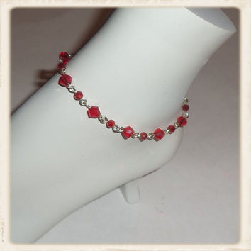 Red Swarvoski crystal anklet, red ankle bracelet, gifts for her, bridesmaid gifts,