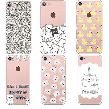 ciciber phone cases Animals cats and dogs duck Clear soft silicon TPU fundas coque case cover For iphone 7 6 6S 8 plus 5S SE X