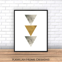 Geometric Print, Triangle Art, Arrow Print, Geometric Art, scandinavian print, Abstract Art, Triangle Print, Printable, watercolor print