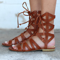 Davina Lace Up Gladiator Sandals {Tan}