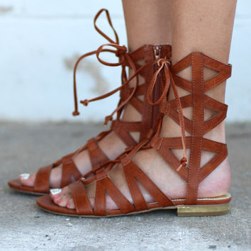 Davina Lace Up Gladiator Sandals {Cognac}