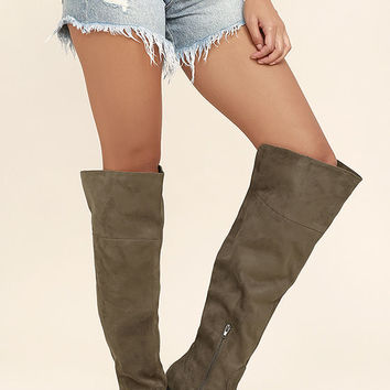 Sandra Deep Taupe Suede Over the Knee Boots