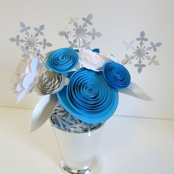Winter Theme Table Centerpiece in Vase, Always In Blossom One Of A Kind Exclusive