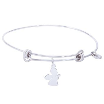 Sterling Silver Balanced Bangle Bracelet With Angel Charm