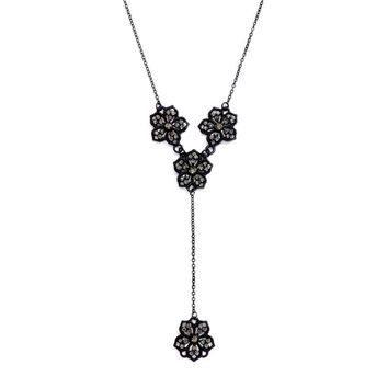 "Black Diamond Filigree Flower ""Y"" Necklace for Prom or Bridesmaids"