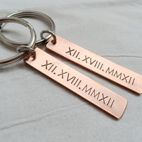 Personalized Couples Keychain for couples, Copper couples keychain, his hers Roman Numerals keychains, personalized keyring Gift for couples