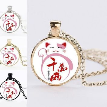 Lovely Anime Pattern Statement Necklaces For Women Lucky Wealth Cat Maneki Neko Necklaces Pendants Jewelry Best Friends Gifts