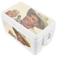 cowboy with beer chest cooler