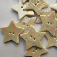 5 Pearly Porcelain Star Buttons - Supplies for crafts, scrapbooking and embroidery