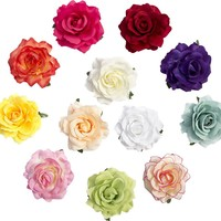 Large Rose Flower Hair Accessories Clips Pack of 12