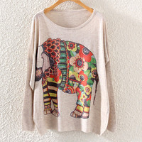 Cute Women's Elephant Printed Knit Pullover Sweater
