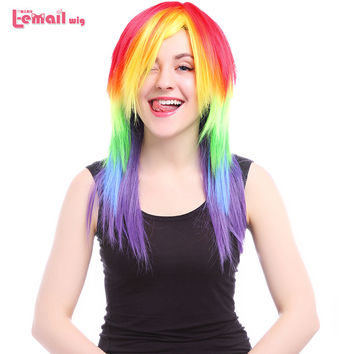 L-email Wig My Little Pony Rainbow Cosplay Wigs Long Straight Synthetic Wig Cosplay Wigs Peruca