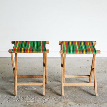 pair camp stools, canvas chairs, camping chairs, folding camping stools, classic striped canvas in green with colored stripes, vintage