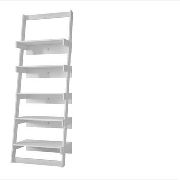 Manhattan Comfort Brilliant Carpina Ladder Shelf with 5- Floating Shelves