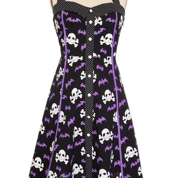 Sourpuss Rockabilly Pinup Skull Crossbones & Bats Gotham City Dress