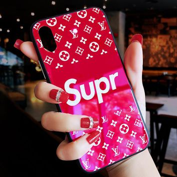 Louis Vuitton LV X Supreme Fashion Personality High-End Luxury For iphone 6 6s 7 7plus 8 X iPhone Phone Cover Case Red I12372-1