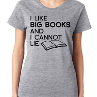 Grey I Like Big Books & I Cannot Lie Crewneck Tee