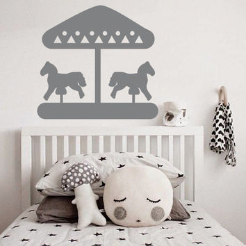 Wall Decor Vinyl Sticker Room Decal Park Parkland Carousel Carrousel Roundabout Horse Happy Nursery Kid Baby Child Play (s177)