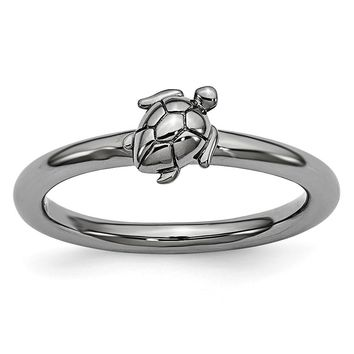 Black Plated Sterling Silver Stackable 8mm Sea Turtle Ring