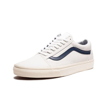 vans old skool true white dress blue