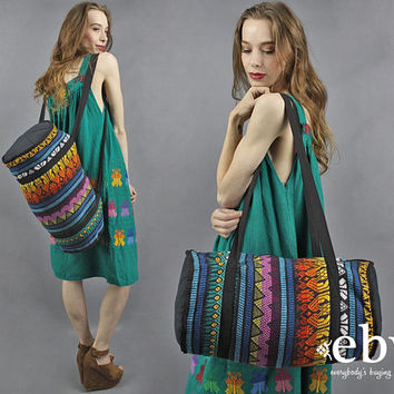 Guatemalan Duffle Bag Rainbow Bag Large Duffle Bag 70s Bag 1970s Bag Hippie Bag Oversized Boho Bag Travel Bag Carry On Bag Weekender Bag