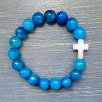 Ocean Blue Agate & White Quartz Cross Bracelet