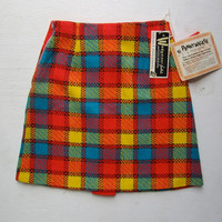 Mod Vintage plaid skirt Unique bright Penny Walker by mary jane womens small mini skirt girls size 12 knee length