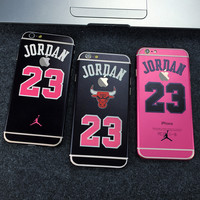 Fashion Full Body Stickers Case for Apple iPhone 6 6S or Plus Jordan 23 Chicago Bulls Hello Kitty Back Cover With Logo Window