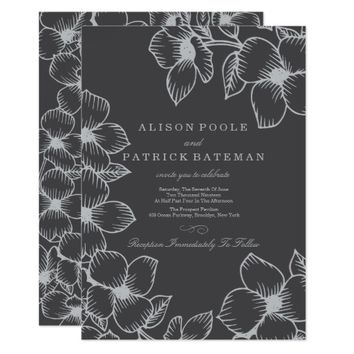 Grey Floral Wedding Invitations