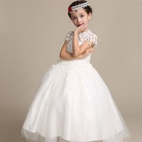 2017 Elegant Long Wedding Dress for Flower Girls Solid White Princess Children Ball Gown Dresses Kids Formal Clothing, HC753