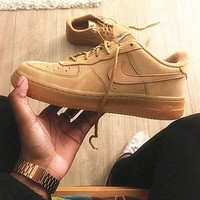 Nike Low To Top Shoes Air Force Wheat Color Sandals Leisure Sports Shoes Brown