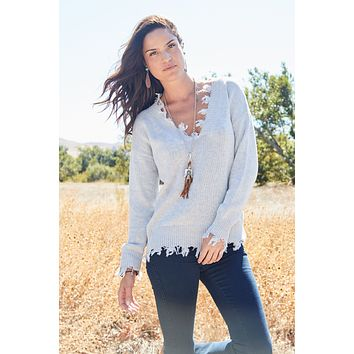 On Our Radar Distressed Sweater - Heather Gray