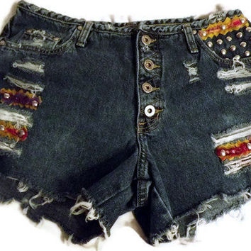 Distressed Frayed Tribal Button Fly Denim Cut Offs by twazzy