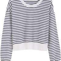 Black White Striped Long Sleeve Cropped Sweatshirt