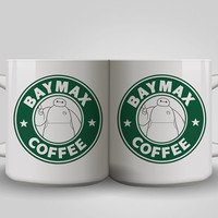 baymax coffee starbuck logo big hero six cup , white ceramics