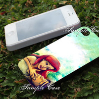 ariel and eric little mermaid painting galaxy Customized cellular case for iPhone 4/4S, iPhone 5/5S/5C, iPad mini, Samsung Galaxy S3 and S4