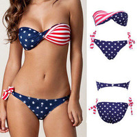 Hi,Showme — 2 Pcs Stars and Stripes Bikini Swimsuit Set