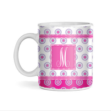 Small Circles Starts Pink and Plum With Pink Monogram 11oz Coffee Mug