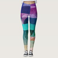 Geometric abstract colorful circle textured leggings