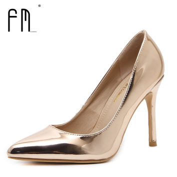 FEDIMIRO 9.5CM High Heel Shoes Woman Patent Leather Shallow Mouth Thin Heels Sexy pointed toe pumps 8 colors Size 34-42