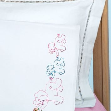 Elephant Train Jack Dempsey Children's Stamped Pillowcase W/Perle Edge