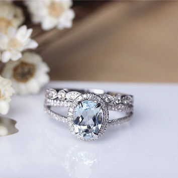 Oval Aquamarine Ring Set Solid 14K White Gold Aquamarine Engagement Ring  Set Wedding Ring Set Anniversary