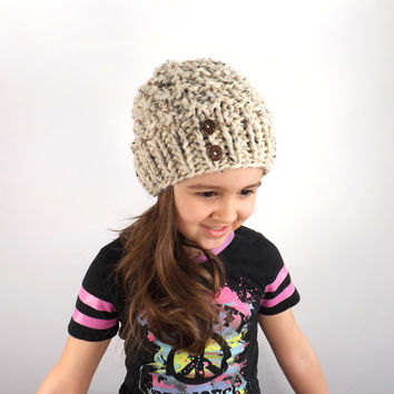 SALE Chunky Kids Slouchy Hat /OATMEAL/, Childrens Slouchy Beanie, Gift Idea