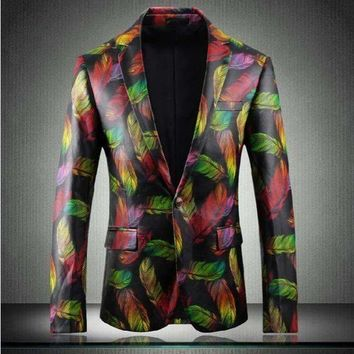 Mens Blazers Feather Print Faux-Leather Jacket