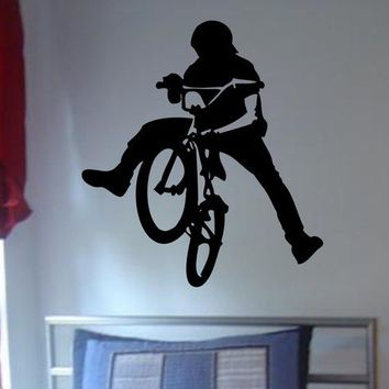 BMX Biker Decal sticker wall cool boy girl by dabbledownJunior